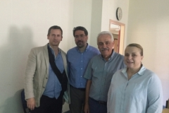 From left to right: G. Dougas, National Public Health Organization (NPHO), Athens, P. Skendros, Coordinator of BRIDGING project, Democritus University of Thrace (DUTH), Alexandroupolis, A. Sachpatzidis, Veterinary Services of the Region of Eastern Macedonia and Thrace (REMTH), Komotini, and M. Panopoulou, Department of Medical Microbiology, Democritus University of Thrace (DUTH).